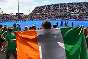 Ireland fan with flag during the Vitality Hockey Women's World Cup 2018 Semi-Final match between Ireland and Spain at the Lee Valley Hockey and Tennis Centre, QE Olympic Park, United Kingdom on 4 August 2018. Picture by Martin Cole.