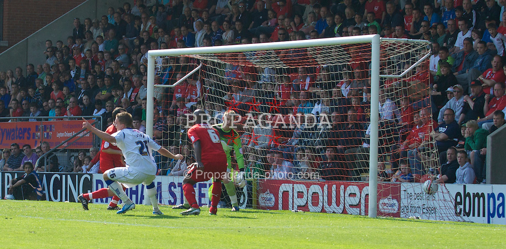 LONDON, ENGLAND - Saturday, April 30, 2011: Tranmere Rovers' Adam McGurk scores his 2nd goal to make it 3-0 against Leyton Orient during the Football League One match at Brisbane Road. (Photo by Gareth Davies/Propaganda)