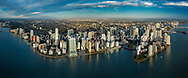 Wide panorama aerial view of Brickel and downtown Miami in early moring light.  This version is watermarked, contact us to license and clean.