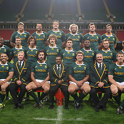 CARDIFF, WALES - NOVEMBER 12, Back Willem Alberts Pierre Spies Flip van der Merwe Jannie du Plessis Bismarck du Plessis Ruan Pienaar Middle Gio Aplon Tendai Mtawarira Zane Kirchner Francois Steyn Morne Steyn   Chiliboy Ralepelle Deon Stegmann Francois Hougaard Patrick Lambie Front Jean de Villiers Bryan Habana Dick Muir assistant coach Victor Matfield captain Peter de Villiers Head Coach Juan Smith Gary Gold assistant coach Bakkies Botha and CJ van der Linde  during the South African rugby team photo and captain's run at Millennium Stadium on November 12, 2010 in Cardiff, Wales<br /> Photo by Steve Haag / Gallo Images