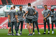 Mateusz Klich of Leeds United (43) arrives at the ground with team mates during the EFL Sky Bet Championship match between Bristol City and Leeds United at Ashton Gate, Bristol, England on 4 August 2019.