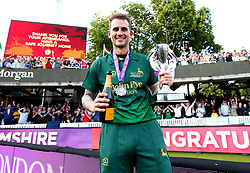 Alex Hales of Nottinghamshire celebrates with the Royal London One-Day Cup Trophy after his sides win over Surrey - Mandatory by-line: Robbie Stephenson/JMP - 01/07/2017 - CRICKET - Lord's Cricket Ground - London, United Kingdom - Nottinghamshire v Surrey - Royal London One-Day Cup Final 2017