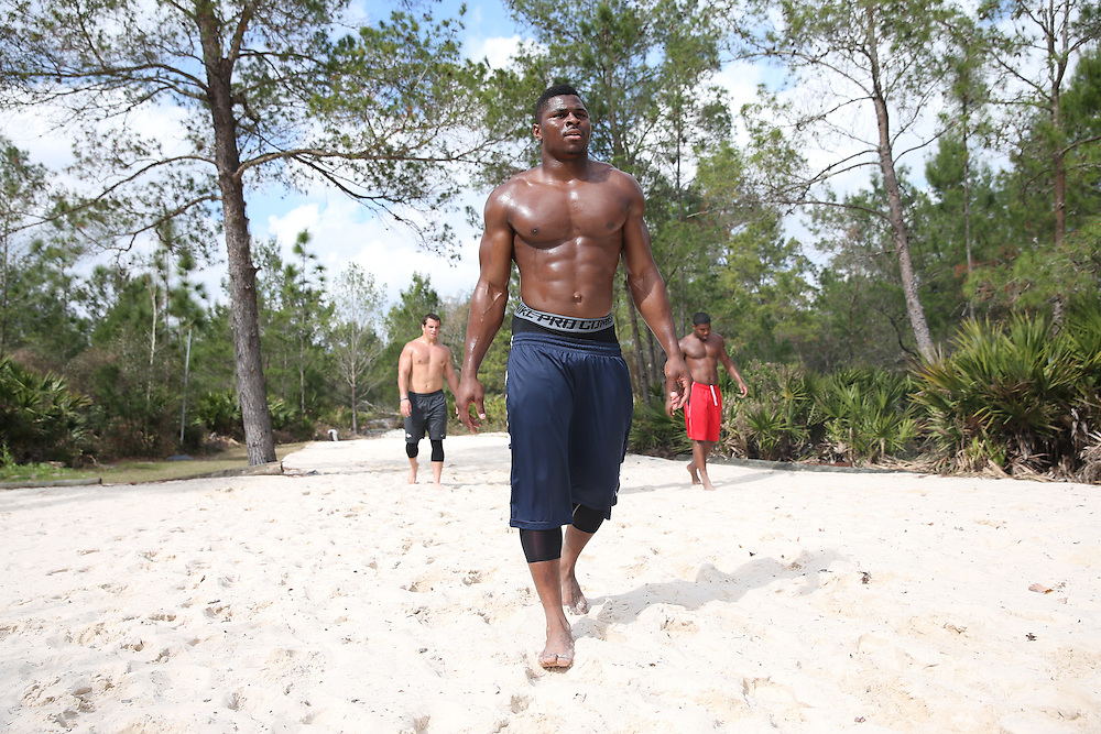 FEB  5 2014:  Khalil Mack, linebacker from Buffalo trains for the NFL Scouting Combing with Coach Tom Shaw at his facility at Disney's Wide World of Sports in Orlando, Florida. Photo by Tom Hauck.