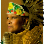 "Heritage and celebration Native American Ethnic Pride  head and shoulders portrait of Gail ""Joy and Happeniness Chief Running Water"" Renz of the Setalcott Nation at the Native American Sunday Spirtual Worship Service. She is dressed Native American regalia for a spirtual time and sharing of cultures at the Sayville Congregrational UCC Church in Sayville, New York on November 23,2008.  Release #2277"