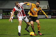 Danny Wright and Greg Taylor during the EFL Sky Bet League 2 match between Cambridge United and Cheltenham Town at the R Costings Abbey Stadium, Cambridge, England on 26 November 2016. Photo by Antony Thompson.