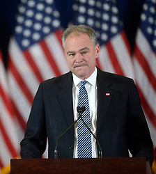VP nominee Tim Kaine looks on before introducing Presidential candidate Hillary Clinton to deliver her concession speech Wednesday, from the New Yorker Hotel's Grand Ballroom in New York city , NY, on November 9, 2016. Photo by Olivier Douliery/Abaca