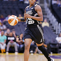 25 May 2014: San Antonio Stars guard Shenise Johnson (42) brings the ball up court during the Los Angeles Sparks 83-62 victory over the San Antonio Stars, at the Staples Center, Los Angeles, California, USA.