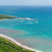 Aerial of sailboats anchored in one of the many bays  in the Riviera Maya. Mexico.