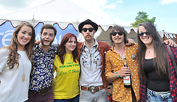 Music fans Amy and Lucy Conlon with Mairead Scahill met with members of The Hot Sprockets after their performance at the Westport Music Festival.<br /> Pic Conor McKeown