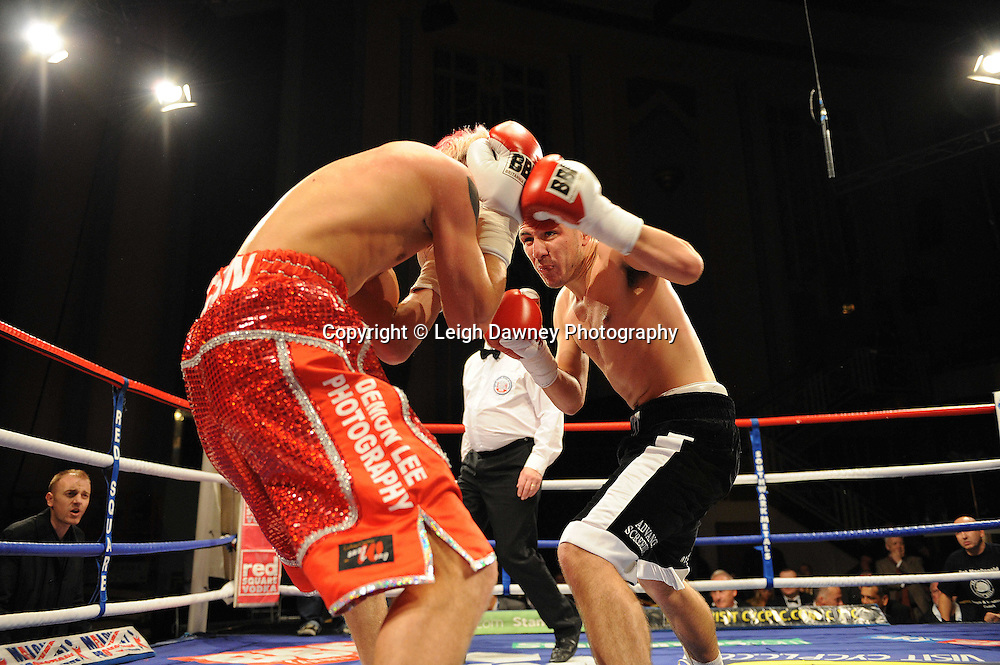 Lewis Pettitt (black shorts) defeats Robin Deakin at The Troxy, Limehouse, London, 16th October 2010. Frank Maloney Promotions © Photo credit: Leigh Dawney