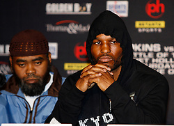 February 19, 2008; Newark, NJ, USA;  Ring Magazine Light Heavyweight Champion Bernard Hopkins speaks at the press conference announcing his April 19, 2008 fight against Ring Magazine Super Middleweight Champion Joe Calzaghe.  The two will meet at the Thomas & Mack Center in Las Vegas, NV.
