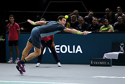 October 30, 2018 - Paris, France - Canadian player MILOS RAONIC returns the ball to French player JOE WILFRIED TSONGA during the tournament Rolex Paris Master at Paris AccorHotel Arena Stadium in Paris France..Milos Raonic won 6-7 7-6 7-6 (Credit Image: © Pierre Stevenin/ZUMA Wire)