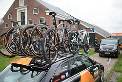 Boels-Dolmans Cycling Team bikes wait to be deployed on Stage 4 of the Healthy Ageing Tour - a 126.6 km road race, starting and finishing in Finsterwolde on April 8, 2017, in Groeningen, Netherlands.