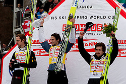 Second place KOCH Martin (AUT), Winner KRANJEC Robert (SLO) and Theerd place AMMANN Simon( SUI) after Flying Hill Individual competition at 4th day of FIS Ski Jumping World Cup Finals Planica 2012, on March 18, 2012, Planica, Slovenia. (Photo by Urban Urbanc / Sportida.com)