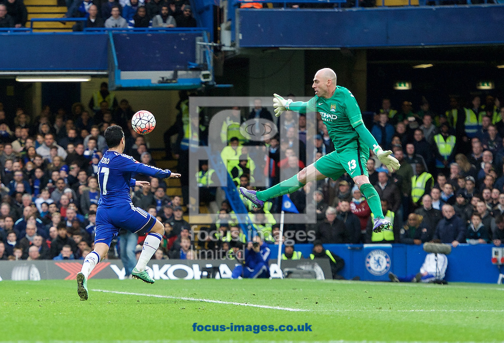 Goalkeeper Wilfredo Caballero tries to make himself big to put off Pedro of Chelsea during the FA Cup match at Stamford Bridge, London<br /> Picture by Alan Stanford/Focus Images Ltd +44 7915 056117<br /> 21/02/2016