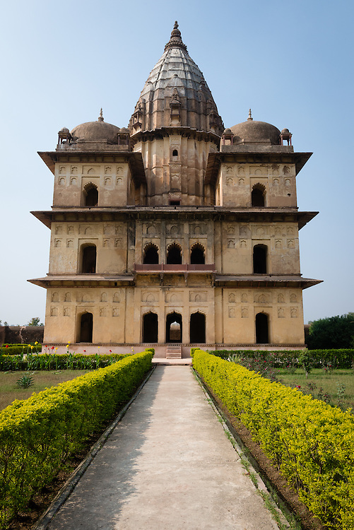 Wide angle view of chhatris at Orchha, India