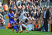 Fulham striker Sone Aluko (24) shows his tricks during the EFL Sky Bet Championship match between Fulham and Brentford at Craven Cottage, London, England on 29 April 2017. Photo by Jon Bromley.