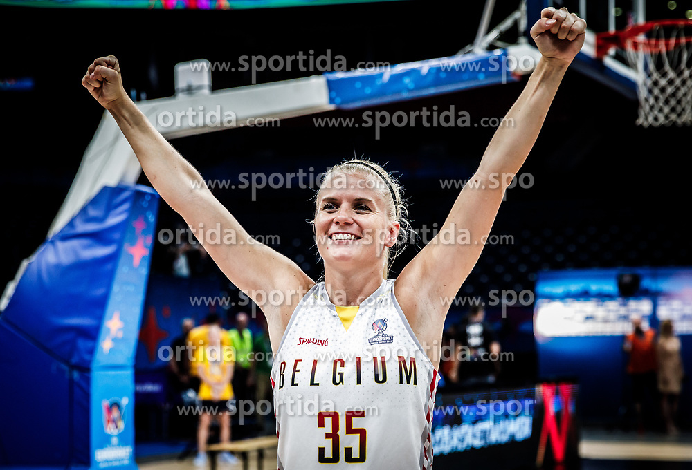 Julie Vanloo of Belgium celebrates during basketball match between Women National teams of Belgium and Slovenia in the Qualification for the Quarter-Finals of Women's Eurobasket 2019, on July 2, 2019 in Belgrade Arena, Belgrade, Serbia. Photo by Vid Ponikvar / Sportida