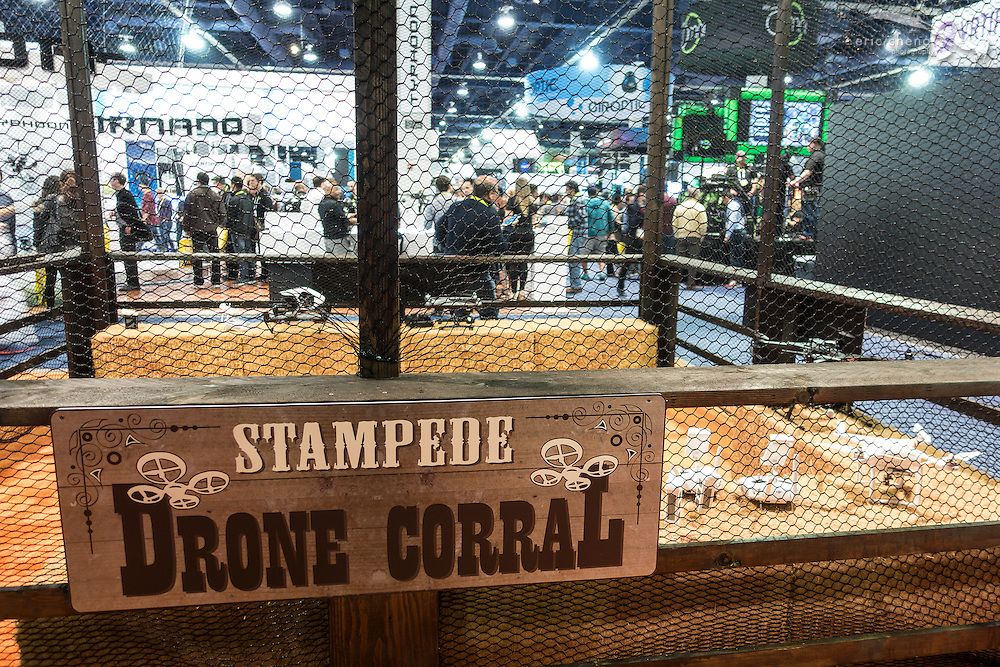 "This year's drone zone theme was ""Stampede Drone Corral."" CES 2016, Las Vegas."