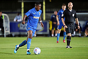 AFC Wimbledon attacker Michael Folivi (17) dribbling during the Pre-Season Friendly match between AFC Wimbledon and Bristol City at the Cherry Red Records Stadium, Kingston, England on 9 July 2019.