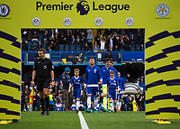 Football - 2016/2017 Premier League - Chelsea V Leicester.<br /> <br /> Chelsea, lead out by captain Gary Cahill, make their way to the Premier League archway at Stamford Bridge.<br /> <br /> COLORSPORT/DANIEL BEARHAM