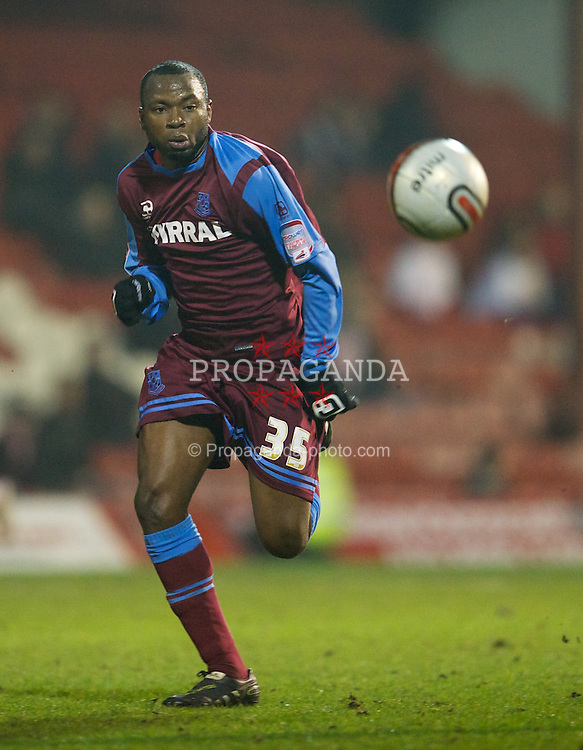 LONDON, ENGLAND - Tuesday, February 22, 2011: Tranmere Rovers' Lateef Elford-Alliyu in action against Brentford during the Football League One match at Griffin Park. (Photo by David Rawcliffe/Propaganda)