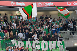 Union Olimpija fans during basketball match between KK Union Olimpija and KK Krka in 4nd Final match of Telemach Slovenian Champion League 2011/12, on May 24, 2012 in Arena Stozice, Ljubljana, Slovenia. Krka defeated Union Olimpija 65-55. (Photo by Grega Valancic / Sportida.com)