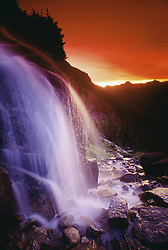 July 21, 2019 - Waterfall At Sunset, Bugaboo Glacier Provincial Park, British Columbia, Canada (Credit Image: © Bilderbuch/Design Pics via ZUMA Wire)