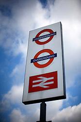 UK ENGLAND LONDON 1MAY12 - London Underground, Overground and Network Rail sign in Islington, North London....jre/Photo by Jiri Rezac....© Jiri Rezac 2012
