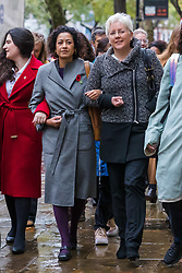 © Licensed to London News Pictures. 01/11/2019. London, UK. Television presenter, Samira Ahmed (C) arrives at the Central London Employment Tribunal with former BBC China editor, Carrie Gracie (R) to attend an equal pay case hearing against the BBC. Samira Ahmed, who presents Newswatch on BBC One and Radio 4's Front Row claims she was paid less than male colleagues for doing equivalent work under the Equal Pay Act. Photo credit: Vickie Flores/LNP