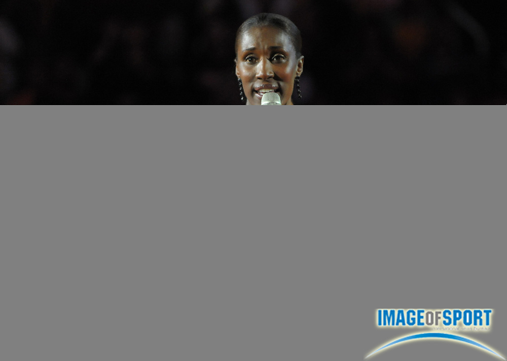 Aug 9, 2010; Los Angeles, CA, USA; Los Angeles Sparks former player Lisa Leslie (center) speaks at halftime ceremony to retire her No. 9 jersey during the game against the Indiana Fever at the Staples Center. Photo by Image of Sport