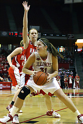 28 January 2007: Nicolle Lewis moves in for a shot.  Before a record crowd or nearly 4200, the Bradley Braves were defeated by the conference leading (9-0) Redbirds of Illinois State University by a score of 55-47 at Redbird Arena in Normal Illinois.