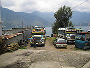 Guatemala, San Pedro La Laguna, public transport Chicken buses