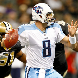 September 1, 2011; New Orleans, LA, USA; Tennessee Titans quarterback Matt Hasselbeck (8) against the New Orleans Saints during the first quarter of a preseason game at the Louisiana Superdome. Mandatory Credit: Derick E. Hingle