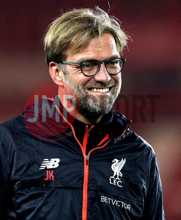 Liverpool manager Jurgen Klopp smiles on arrival at Middlesbrough for the Premier League fixture - Mandatory by-line: Robbie Stephenson/JMP - 14/12/2016 - FOOTBALL - Riverside Stadium - Middlesbrough, England - Middlesbrough v Liverpool - Premier League