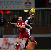 8th December 2017, Dens Park, Dundee, Scotland; Scottish Premier League football, Dundee versus Aberdeen; Dundee's Mark O'Hara and Aberdeen's Andrew Considine