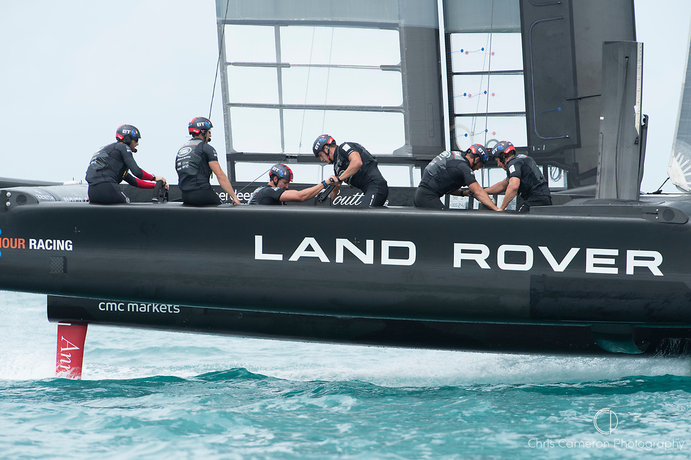 The Great Sound, Bermuda. 3rd June 2017. Land Rover BAR (GBR) in their race against Soft Bank Team Japan on the last day of the America's Cup Qualifiers.