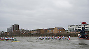 Putney. London, Varsity Fixtures,  CUBC versus NED Fixture, is re-started, following clash with Sailing Boat. OUBC vs Molesey BC. and CUBC vs Select NED crew. on the championship Course Putney to Mortlake.  ENGLAND. <br /> <br /> Saturday  21/03/2015<br /> <br /> [Mandatory Credit; Intersport-images]