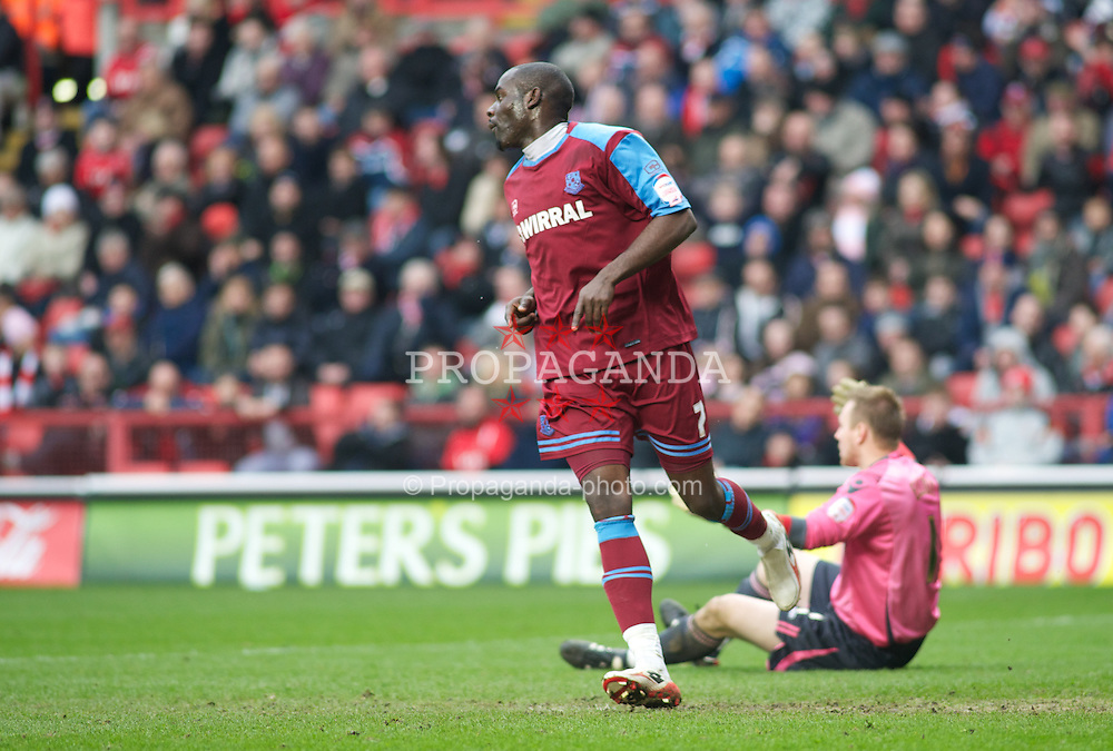 LONDON, ENGLAND - Saturday, March 5, 2011: Tranmere Rovers' Enoch Showunmi celebrates after his goal makes it 1-0 during the Football League One match at The Valley. (Photo by Gareth Davies/Propaganda)