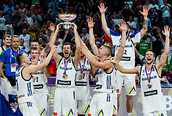 Klemen Prepelic of Slovenia, Luka Doncic of Slovenia, Matic Rebec of Slovenia, Goran Dragic of Slovenia, Sasa Zagorac of Slovenia, Edo Muric of Slovenia, Ziga Dimec of Slovenia, Aleksej Nikolic of Slovenia celebrating at Trophy ceremony after winning during the Final basketball match between National Teams  Slovenia and Serbia at Day 18 of the FIBA EuroBasket 2017 when Slovenia became European Champions 2017, at Sinan Erdem Dome in Istanbul, Turkey on September 17, 2017. Photo by Vid Ponikvar / Sportida