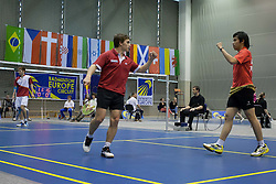Andreas Heinz with Jones Ralfi Jansen of Germany during final match in man doubles at Slovenia Open Badminton tournament 2012, on May 13, 2012, in Medvode, Slovenia. (Photo by Grega Valancic / Sportida.com)
