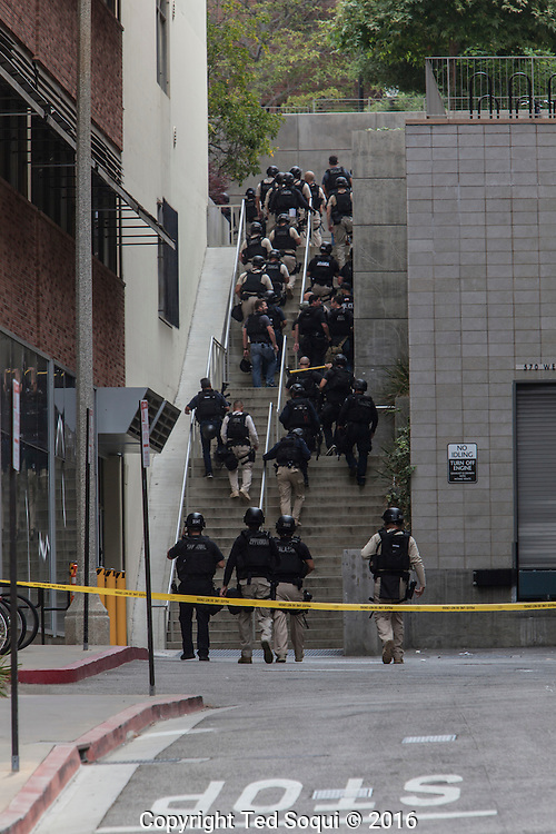Murder-suicide shooting at UCLA. SWAT teams and law enforcement from all over LA swarmed on to the campus looking for an active shooter.