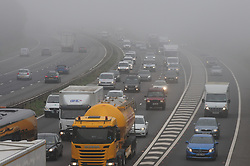 © Licensed to London News Pictures. 05/10/2018<br /> SWANLEY, UK.<br /> Foggy weather for drivers.<br /> Morning fog on the M25 clock-wise into Kent at Swanley.<br /> Photo credit: Grant Falvey/LNP