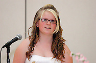 Janya Meeker speaks during the 8th grade recognition ceremony at Cleveland PK-8 School in Dayton, May 25, 2012.