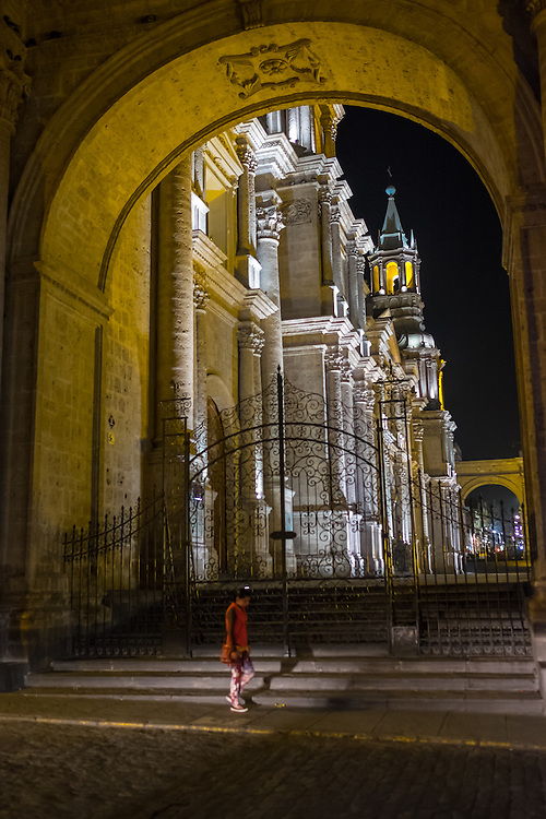 AREQUIPA, PERU - CIRCA APRIL 2014: View of entrance to the Cathedral of Arequipa at night. Arequipa is the Second city of Perú by population with 861,145 inhabitants and is the second most industrialized and commercial city of Peru.