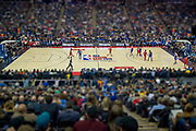 General view (GV) inside  the arena during the NBA London Game match between Washington Wizards and New York Knicks at the O2 Arena, London, United Kingdom on 17 January 2019.<br /> Editors Note: This image has had a digital filter applied.