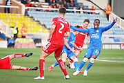Peterborough United midfielder Siriki Dembele (10) appeals for a foul during the EFL Sky Bet League 1 match between Peterborough United and Accrington Stanley at London Road, Peterborough, England on 20 October 2018.