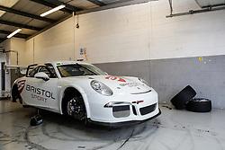 The Parr Motorsport run Bristol Sport Racing Porsche 911 GT3 Cup car of Dino Zamparelli sits in the garage between sessions  - Photo mandatory by-line: Rogan Thomson/JMP - 07966 386802 - 30/01/2015 - SPORT - MOTORSPORT - Towcester, England - Silverstone Circuit - Dino Zamparelli Test Day - Porsche Carrera Cup GB.