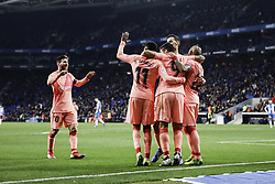 December 8, 2018 - Barcelona, Catalonia, Spain - 09 Luis Suarez of FC Barcelona celebrating his goal with his team during the Spanish championship La Liga football match between RCD Espanyol v FC Barcelona on December 08, 2018 at RCD Stadium stadium in Barcelona, Spain. (Credit Image: © Xavier Bonilla/NurPhoto via ZUMA Press)