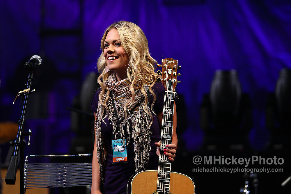 Musical artist Sarah Lenore performs at Tourney Town in the Indiana Convention Center during the NCAA women's Final Four weekend in Indianapolis, Indiana..By Michael Hickey, concert photography